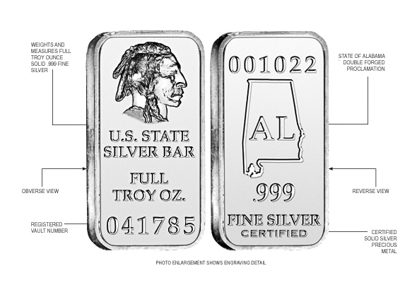 Alabama State Silver Bar