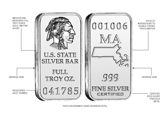 Massachusetts State Silver Bar