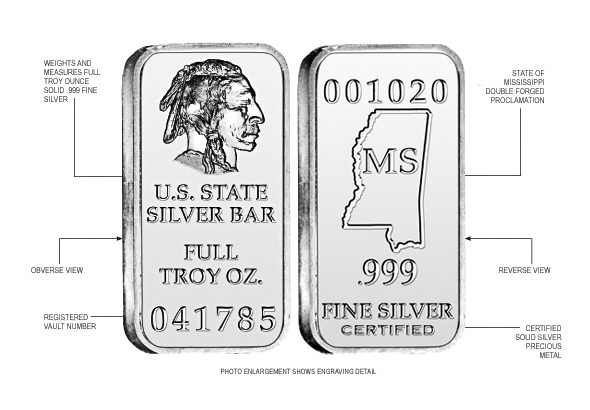Mississippi State Silver Bar