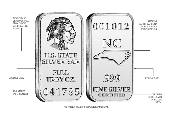 North Carolina State Silver Bar