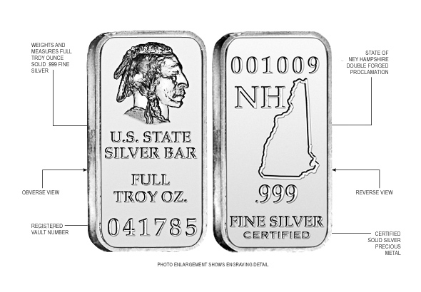 New Hampshire State Silver Bar