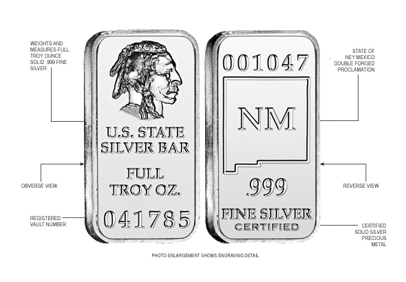 New Mexico State Silver Bar
