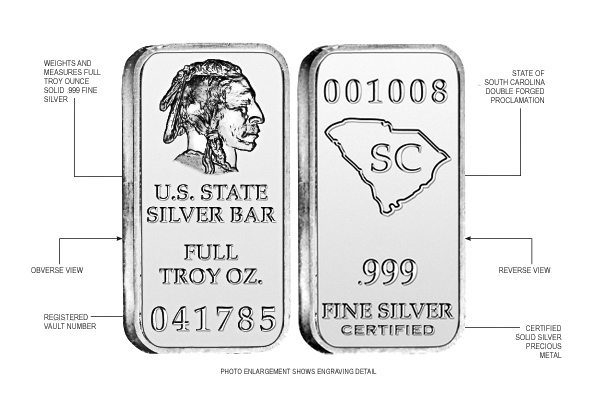 South Carolina State Silver Bar