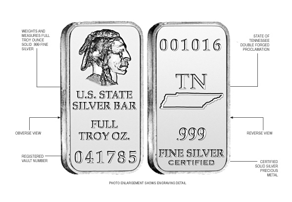 Tennessee State Silver Bar