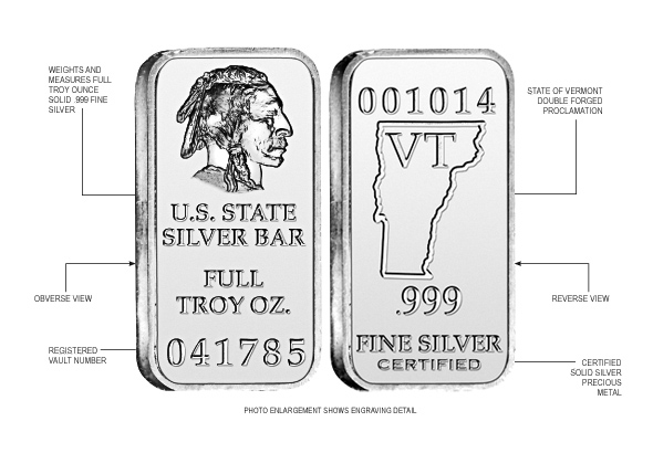 Vermont State Silver Bar