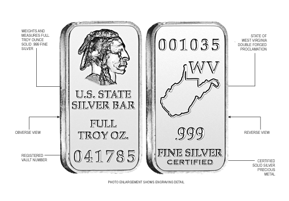 West Virginia State Silver Bar