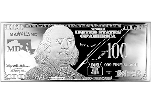 Maryland Silver $100 Bill