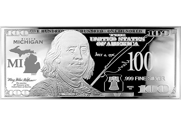 Michigan Silver $100 Bill