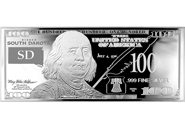 South Dakota Silver $100 Bill